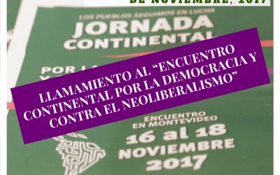 Llamamiento al Encuentro Continental por la Democracia y Contra el Neoliberalismo