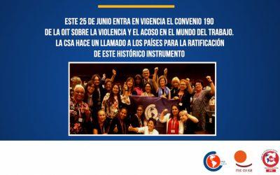 Entra en vigor el Convenio 190 de la OIT y la CSA reafirma el llamado para su ratificación